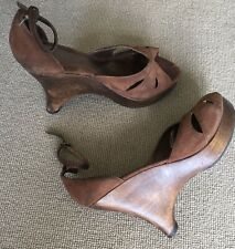 RAVEL Brown Suede Wedges Sandals Size 40