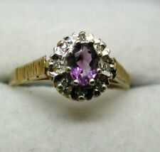 Lovely 9 carat Gold Tanzanite And Diamond Cluster Ring Size L.1/2