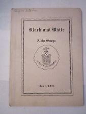 1921 ALPHA OMEGA FRATERNITY BLACK AND WHITE QUARTERLY BOOKLET - JUNE - TUB QQ