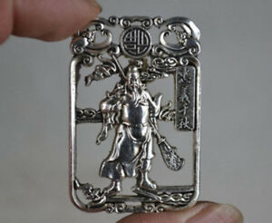 Old Collectible Decoration Miao Silver Carving Guan Gong Statue Pendant / Amulet
