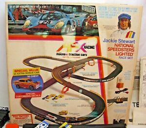 AURORA JACKIE STEWART NATIONAL SPEEDSTER LIGHTED RACE SLOT CAR SET 1970s BOXED
