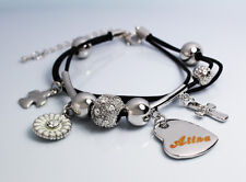 Genuine Braided Leather Charm Bracelet With Name - ALINA - Gifts for her