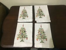 Painted Christmas Tree Dinner Napkins Set Of 4 Cotton 18""