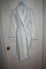 LAURA ASHLEY White SOFT PLUSH BELTED FLEECE ROBE Knee Length Size Large NWT NEW