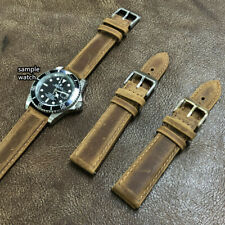 Size 20/22mm Taper Oily Vintage Brown Leather Padded Watch Strap/Band #142