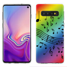 TPU Phone Case for Samsung Galaxy S10 - Music Notes / Rainbow