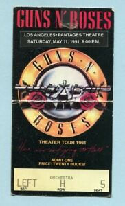 1991 Guns n Roses concert ticket stub Pantages Los Angeles Use Your Illusion