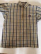 Ben Davis Vintage Shirt 1/4 Zip Stripe Blue/ Yellow Shirt Medium Short Sleeve