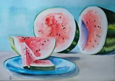 Hand Painted Original Watercolor ACEO Still Life WATERMELON Fruit Signed by JV