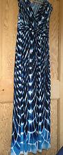 Ladies WALLIS Blue, Black & White Tie Dye Effect Maxi Dress Size 12