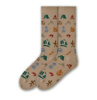 K. Bell Socks Men's Camping Gear on Khaki Crew Sock Size: 10-13