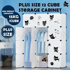 DIY 12 Cube Storage Cabinet Clothes Shoe Compartment Wardrobe Rack Kid Toy Shelf