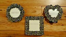 Cynthia Royce Small Bejeweled Faux Antiqued Pewter Picture Frames Set Of Three