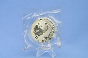 China 10 Yuan 2001 Panda  1 oz  Silber *St/Bu * gekapselt in Folie