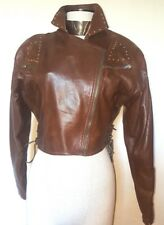 Pellessimo Butter Soft Brown Leather Cropped  Jacket with Gold Studs Size 2