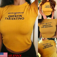 Women Written and Directed By Quentin Tarantino Printed T-Shirt Tee Crop Tops US