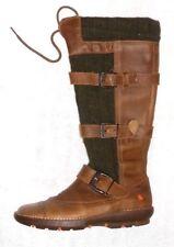 ART bottes plates zippées cuir marron & tricot vert P 40 TBE