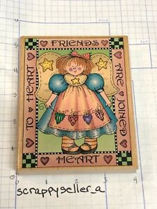 Wood Block Stamp__ LARGE...FRIENDS ARE JOINED HEART TO HEART ___lot 141