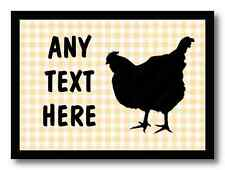 Chequered Chicken Hen Cream Personalised Dinner Table Placemat