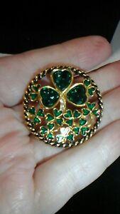 Preloved gold Tone, Green enamel, Green faux gems brooch