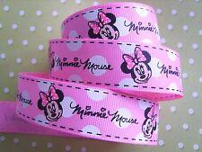 """1 M x Rosa Minnie Mouse GROS Grain Nastro, artigianato, Fiocco per Capelli, Torta 25 mm (1"""")"""