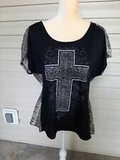 Hybrid Women Snakeskin Look Cross Design Semi Sheer Shirt Top Blouse Size L