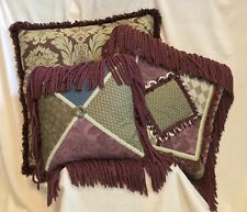 Set of 3 - LARGE CUSTOM MADE Living Room Bedroom Pillows, PURPLE GREEN BROWN
