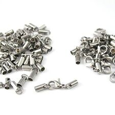 6 Set Wholesale Lot Silver Stainless Steel End Caps Lobster Clasp Connector NEW