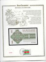 Suriname 1 Gulden 1974 UNC P 116d w/ UN FDI FLAG STAMP prefix KC