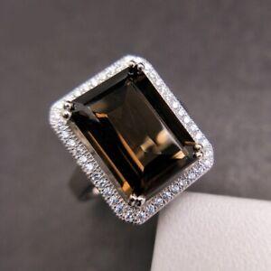 Bague Argent 925 Quartz fumé noir naturel 7cts grosse pierre précieuse vintage