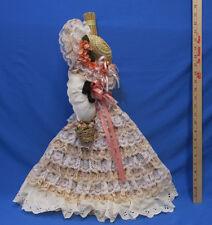 Vintage Broom Doll Handmade Lace Ribbon Roses Peach White Natural Broom