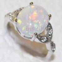 Femme Bague Mariage Fiancaille Opale Argenté Diamant Cristal Strass Bijoux Ring