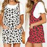 UK Plus Size Women Leopard Print Mini Dress Sleeveless Pinafore Overall Dungaree