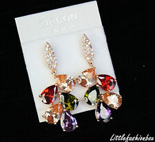 Gold Plated Very Shiny Multicoloured CZ Cubic Zirconia Cluster Drop Earring UK