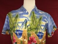 GoHawaii Blue Aloha Tropical Hawaiian Shirt Mens Medium 100% Cotton
