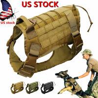 US Tactical Police K9 Training Military Dog Adjustable Nylon Vest Harness +Leash