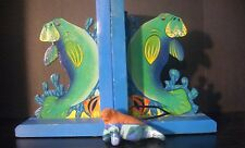 Hand-Made Sweet Manatee Sea Cow Ooak Bookends Book Ends + Clay Manatee Ornament