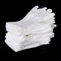 12 Pairs Unisex Cotton White Inspection Gardening Work Gloves L Size Protective
