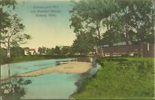 OLD VINTAGE STEINBERGERS MILL AND COVERED BRIDGE IN UBRANA OHIO POSTCARD