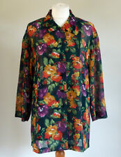 Vintage 90s Grunge Retro Bright Floral Summer Semi Long Shirt/Dress/Kimono 12/M