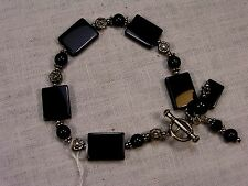 """Ladies Bracelet 7.5"""" long casual - formal Black beads Silver accents FREE SHIP"""