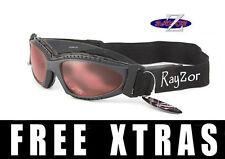 RAYZOR UV400 2n1 Grey CYCLING MTB SUNGLASSES GOGGLES Clear Rose Lens RRP£69