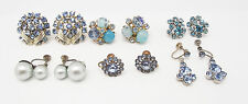 ANTIQUE 6 pairs BLUE CRYSTAL CLIP JAPAN GOLD SILVER RHINESTONE CLIP EARRINGS