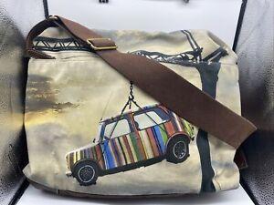 Paul Smith Messenger Bag Mini Stripes Laptop Shoulder Brown Mens Crane Sunset
