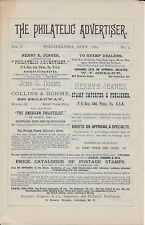 "April 1885 Copy of ""The Philatelic Advertiser"" (Philadelphia, Pa) (Vol. 1 No. 3)"