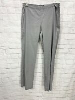 NWT Eileen Fisher Straight Side Zip Pants Pewter Linen Viscose Stretch Size 12
