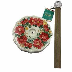 NEW Pioneer Woman Vintage Floral Paper Towel Holder - Stoneware, Wood, Acrylic