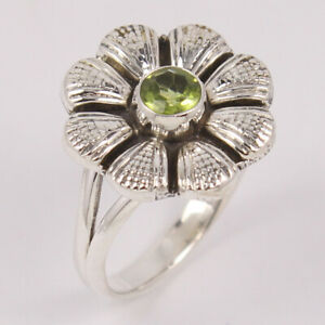 PERIDOT Ring Flower desing Round Stone ring size US 4 to 10 Sterling Silver 925