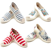 Women Classics Tom Loafers Canvas Slip-on Flats Lazy Stripe Casual Shoe Size 6-8