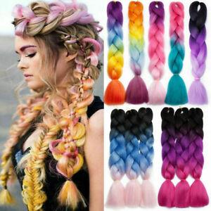 24'' Crochet Extensions Jumbo Braiding Hair Synthetic Ombre Kanekalon Braids New